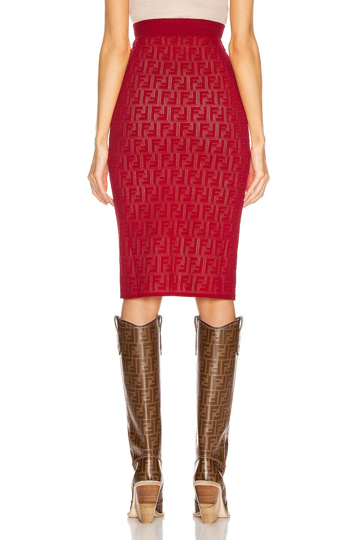Image 3 of Fendi FF Midi Skirt in Fuchsia