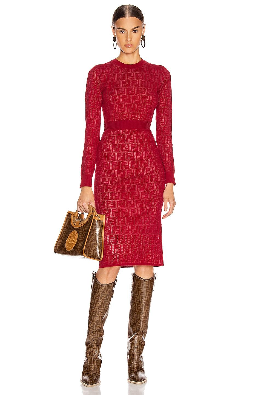 Image 4 of Fendi FF Midi Skirt in Fuchsia
