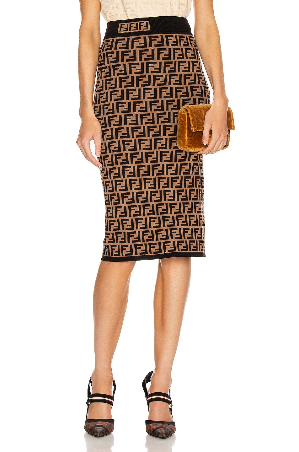 Image 1 of Fendi FF Midi Skirt in Tobacco