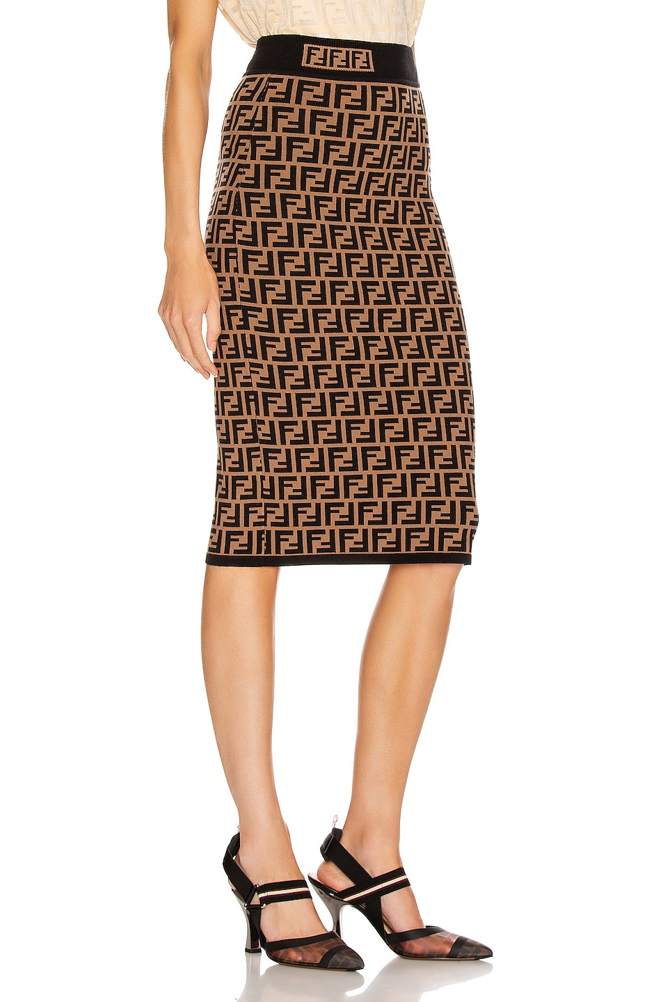 Image 2 of Fendi FF Midi Skirt in Tobacco