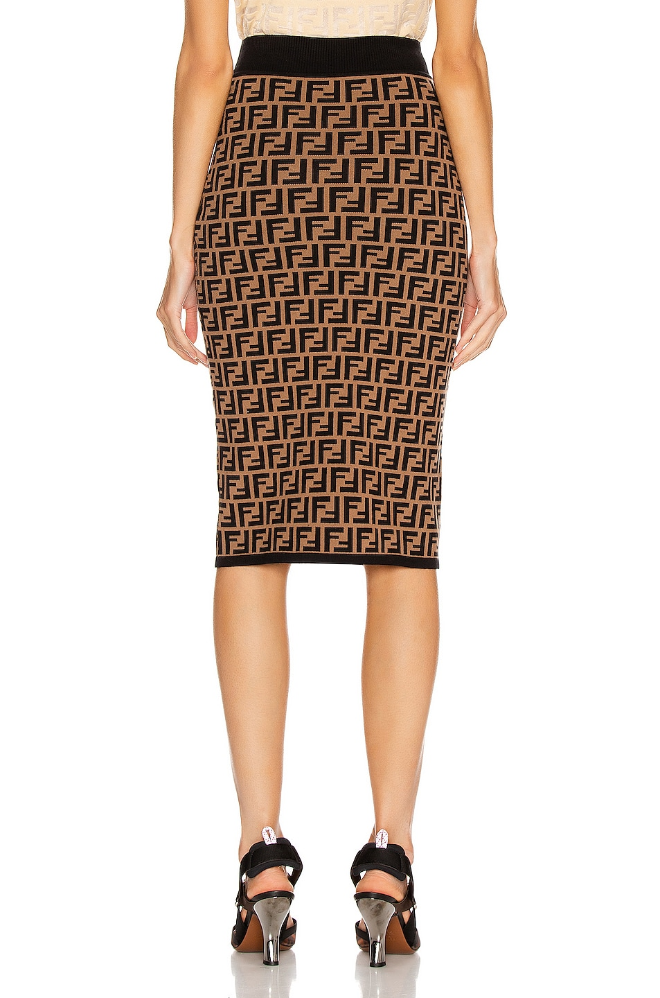 Image 3 of Fendi FF Midi Skirt in Tobacco
