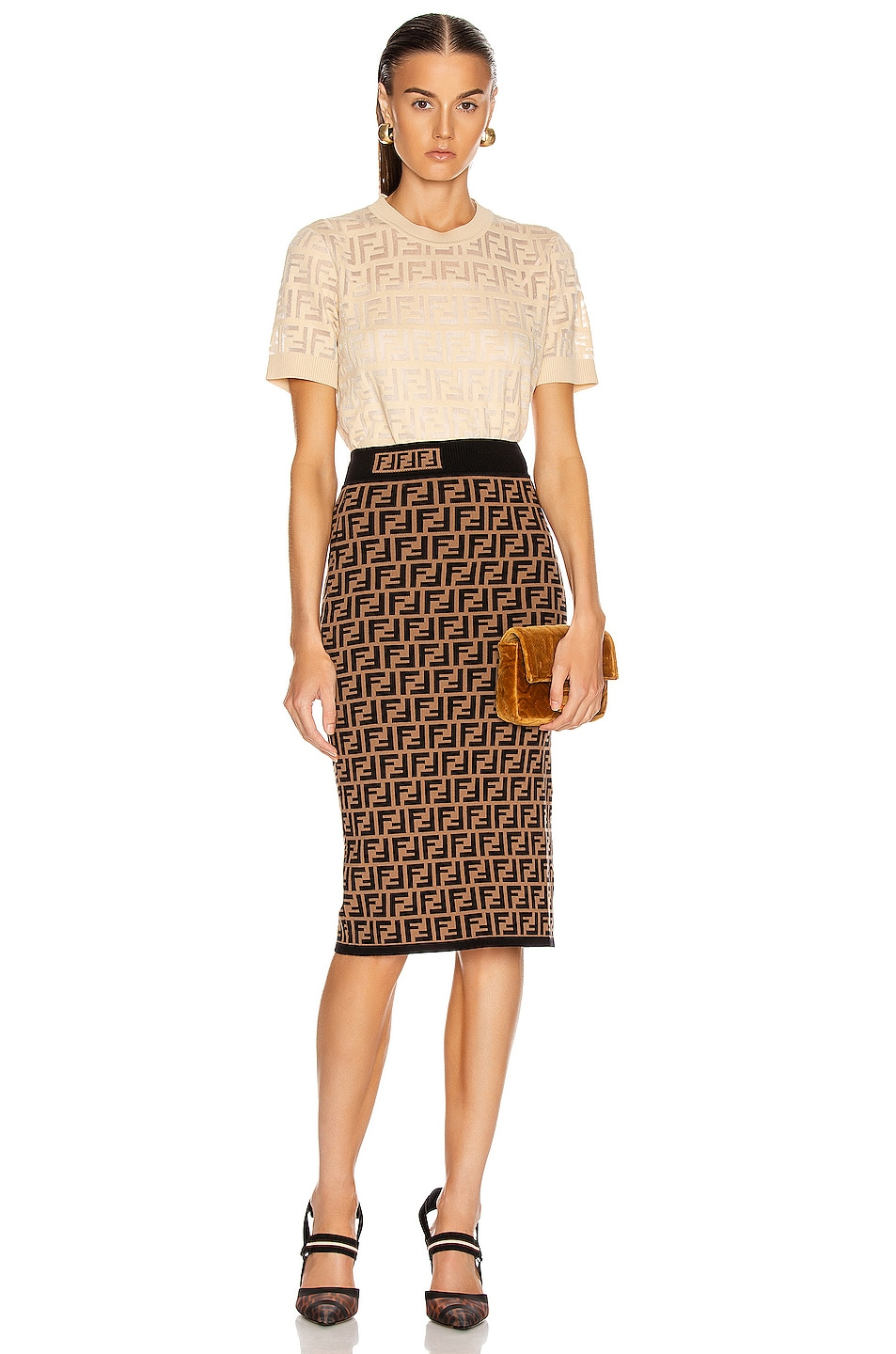 Image 4 of Fendi FF Midi Skirt in Tobacco