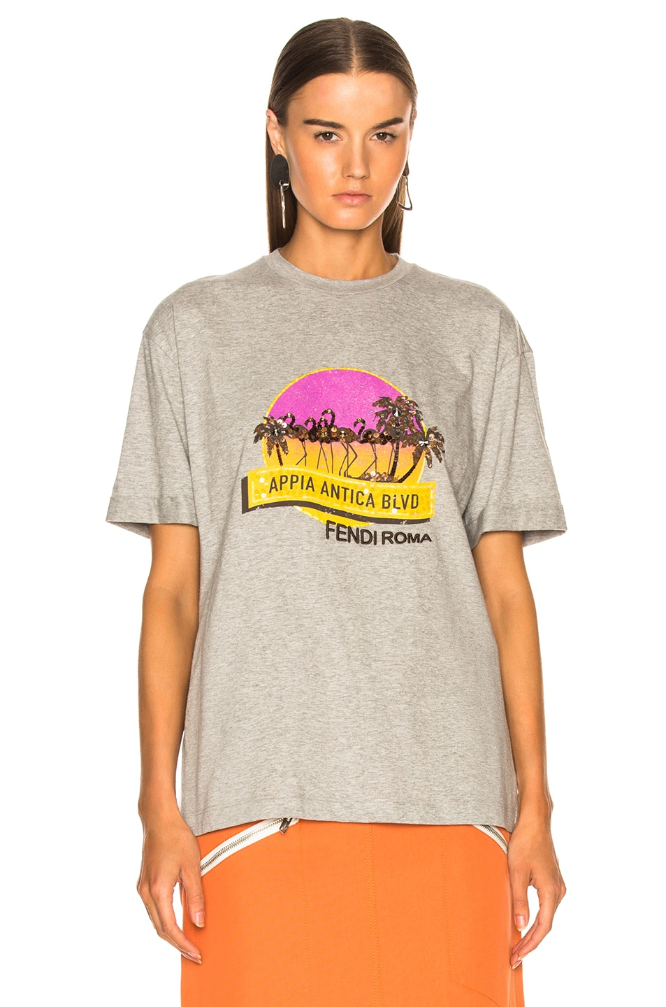 Image 2 of Fendi Applia Antica Boulevard Embellished Graphic Tee in Grey