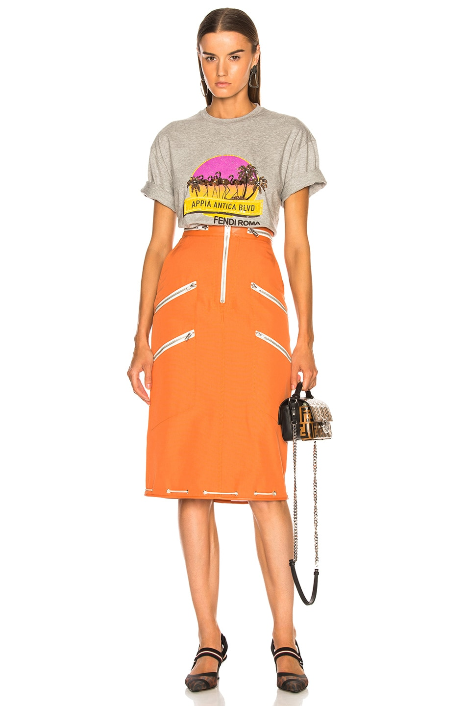 Image 5 of Fendi Applia Antica Boulevard Embellished Graphic Tee in Grey