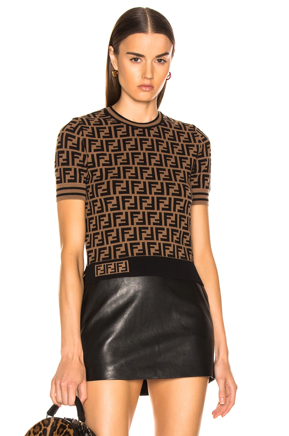 Image 1 of Fendi Logo Print Top in Tobacco