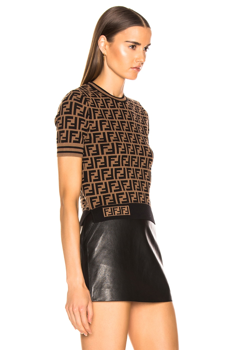 Image 2 of Fendi Logo Print Top in Tobacco