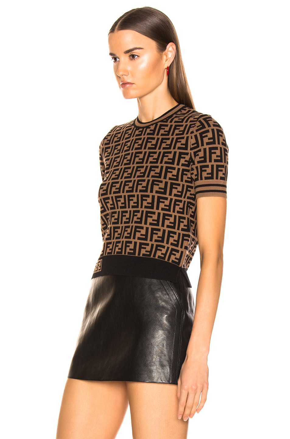 Image 3 of Fendi Logo Print Top in Tobacco