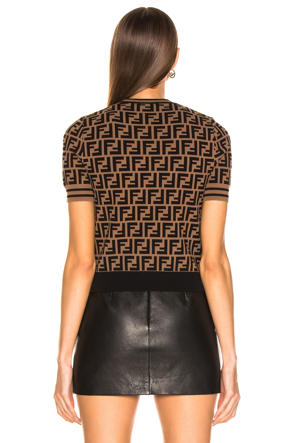 Image 4 of Fendi Logo Print Top in Tobacco