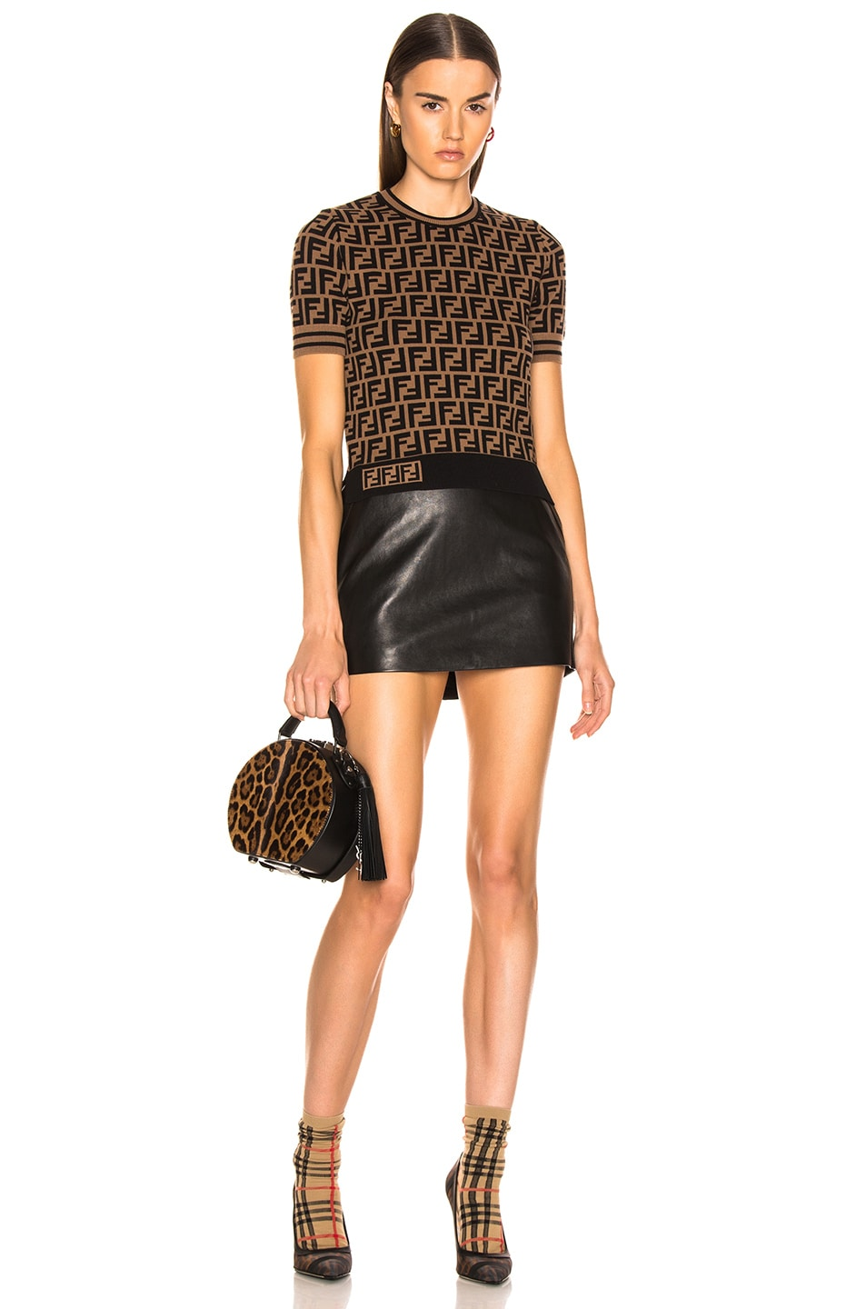 Image 5 of Fendi Logo Print Top in Tobacco