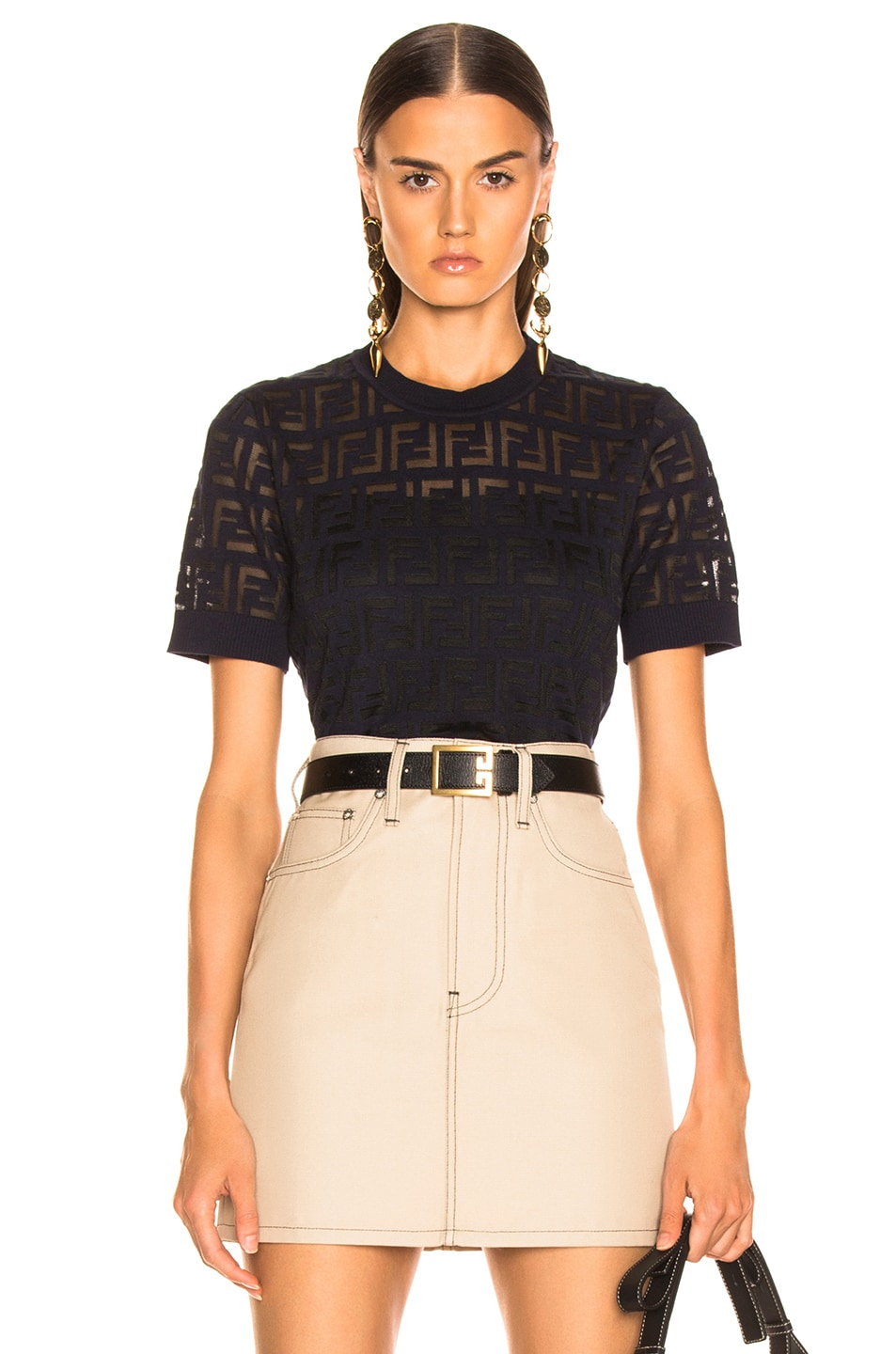 Image 1 of Fendi Logo Top in Acai & Black