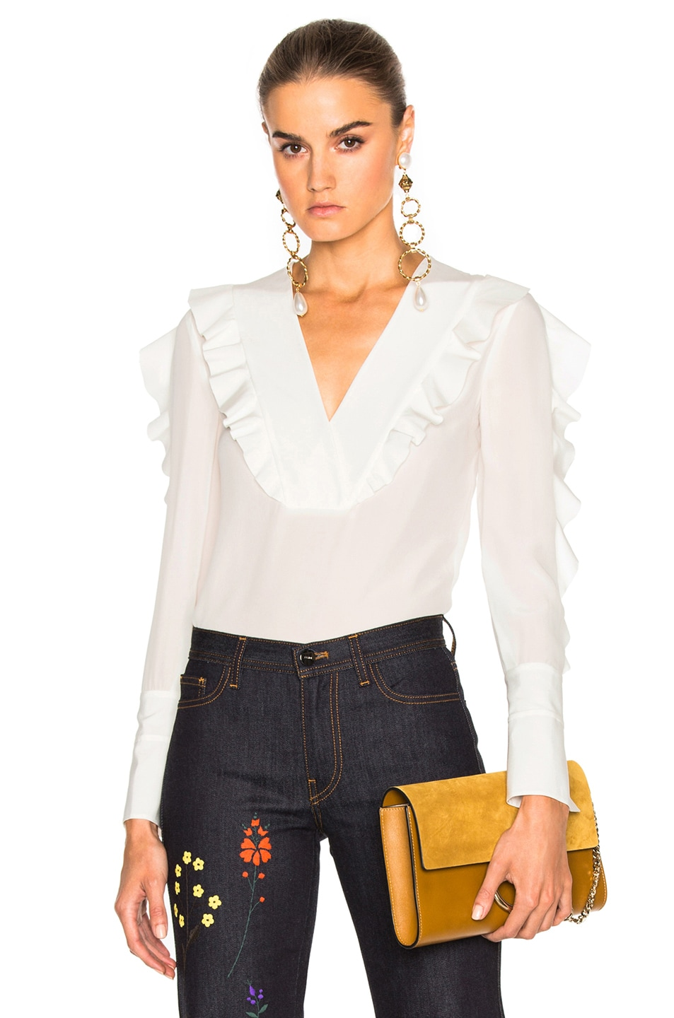 Image 1 of Fendi Crepe de Chine Blouse in White