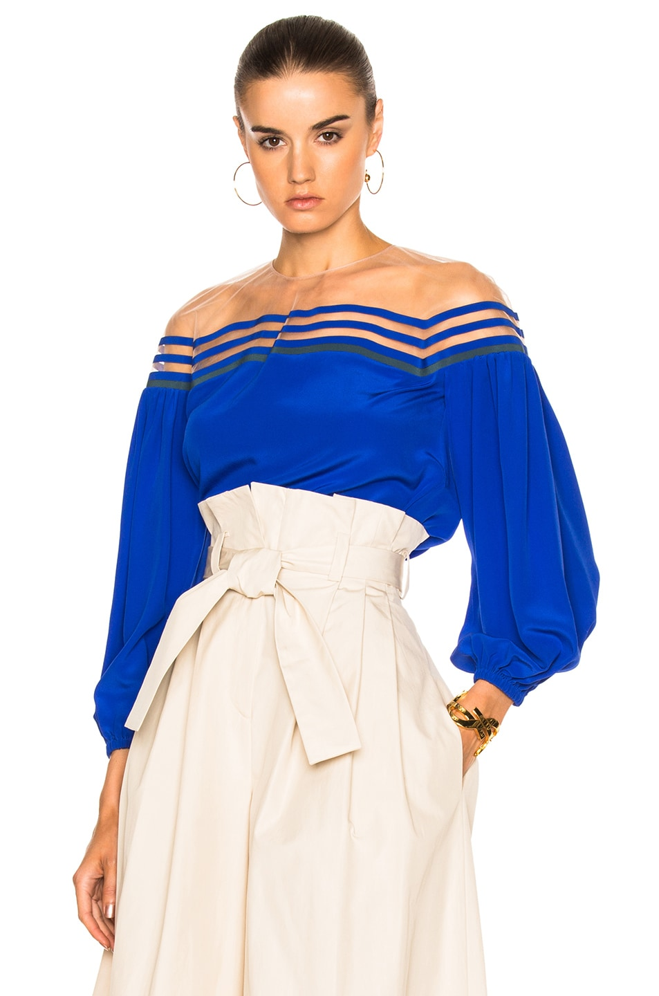 Image 1 of Fendi Illusion Neck Crepe De Chine Blouse in Blue