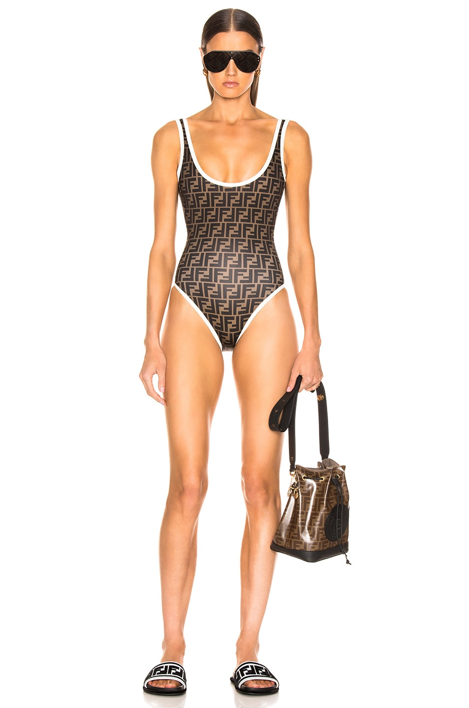 Image 1 of Fendi Logo One Piece in Milk White & Tobacco