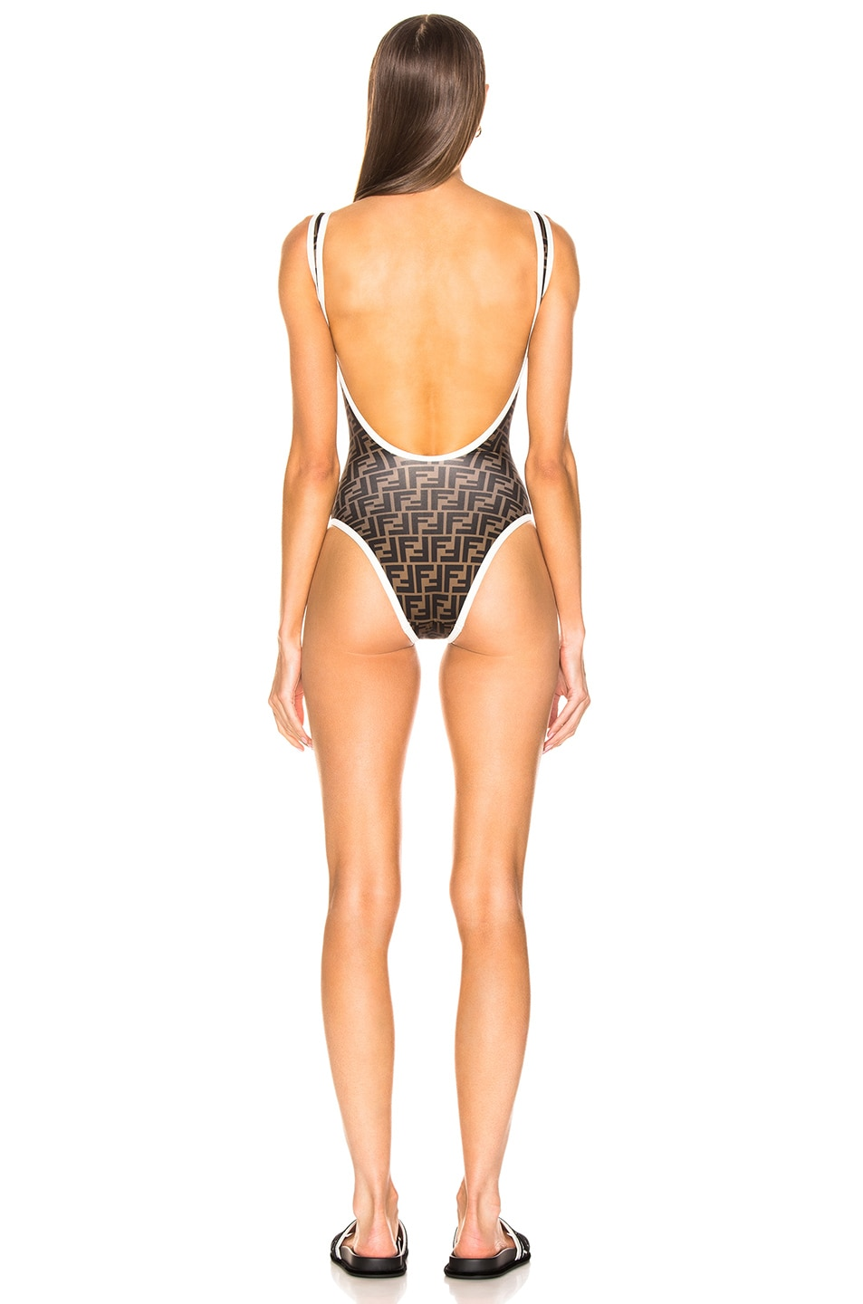 Image 4 of Fendi Logo One Piece in Milk White & Tobacco