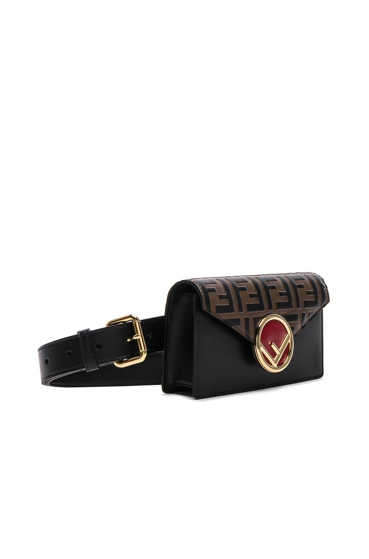 Image 4 of Fendi Logo Embossed Hip Belt in Black & Brown