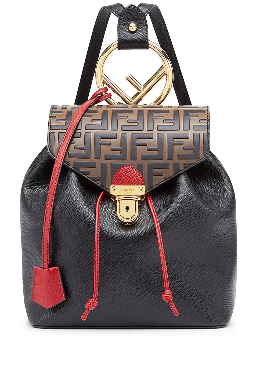 Image 1 of Fendi Logo Print Backpack in Black & Brown