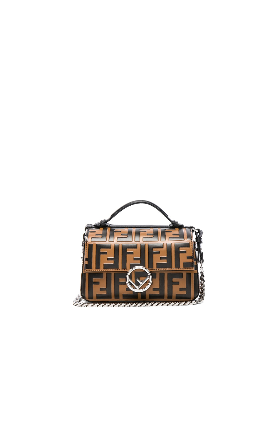 4945ddb0ca0 Image 1 of Fendi Double Micro Logo Print Baguette in Tobacco   Black