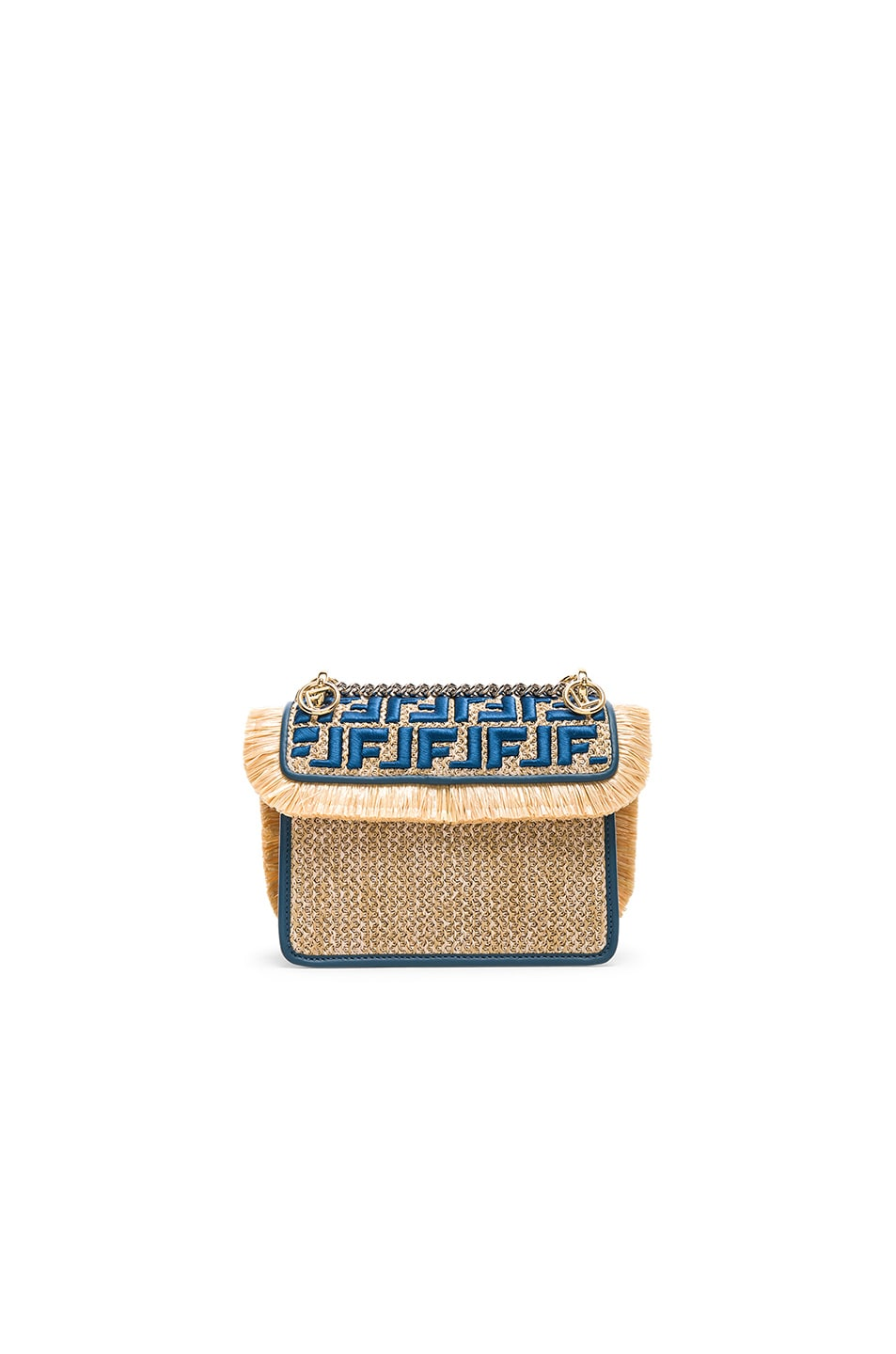 Image 2 of Fendi Small Raffia Trim Logo Embroidered Kan I Logo in Natural & Whale