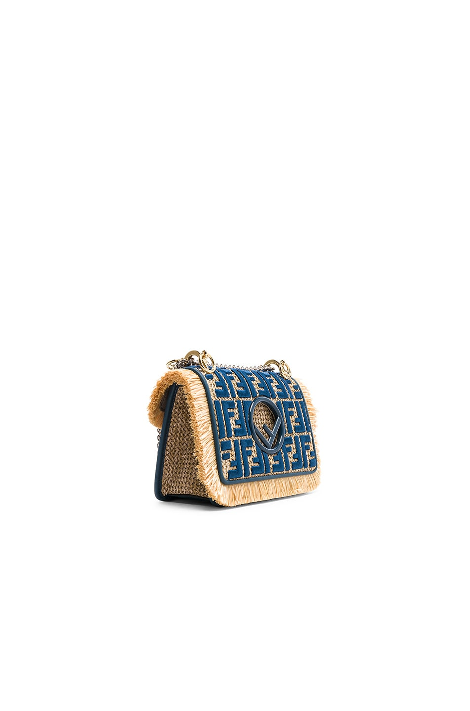 Image 3 of Fendi Small Raffia Trim Logo Embroidered Kan I Logo in Natural & Whale