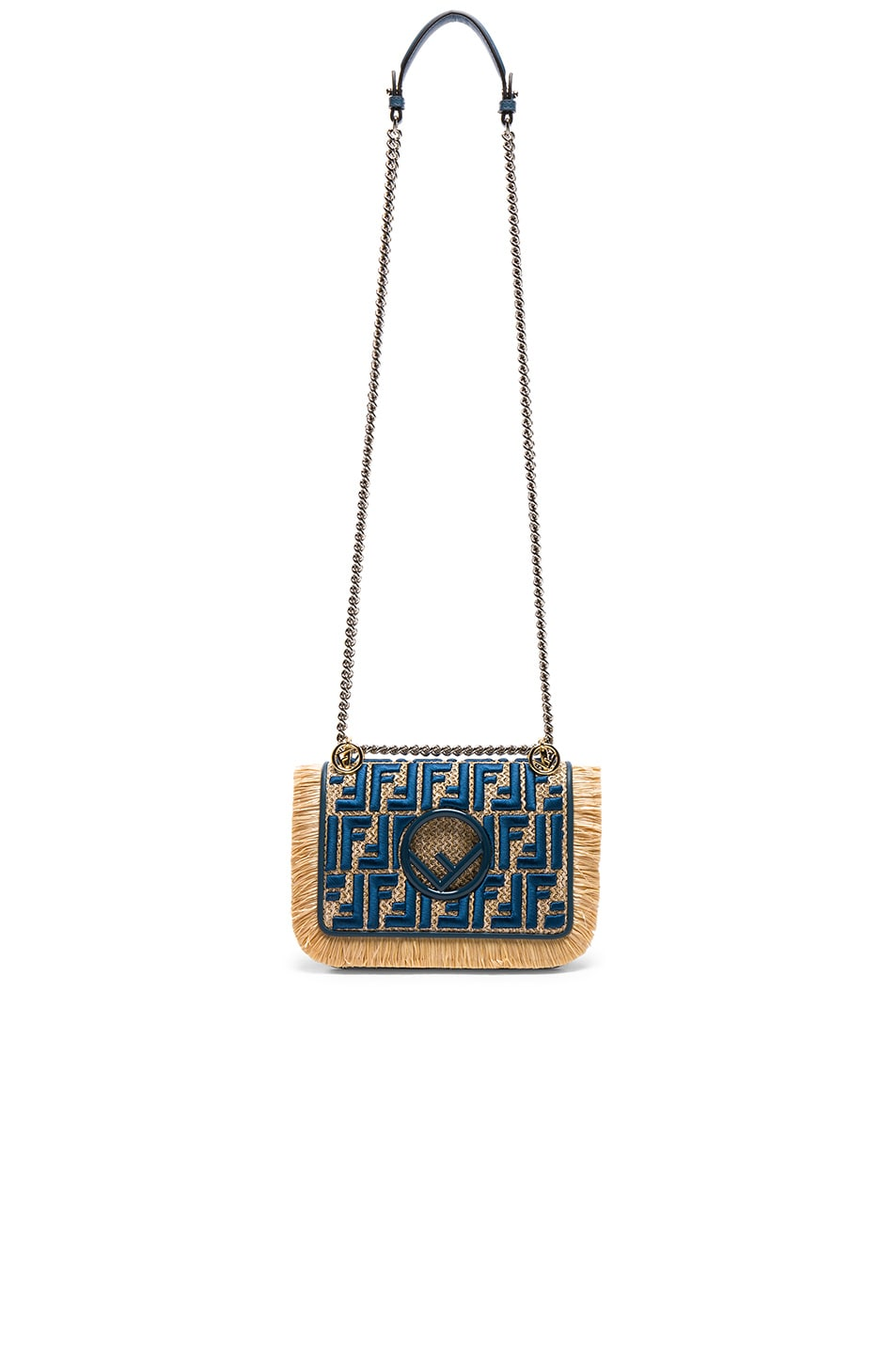 Image 5 of Fendi Small Raffia Trim Logo Embroidered Kan I Logo in Natural & Whale