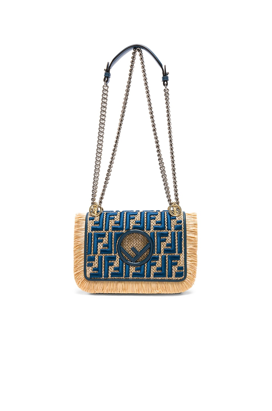 Image 6 of Fendi Small Raffia Trim Logo Embroidered Kan I Logo in Natural & Whale