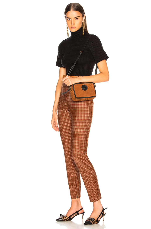 Image 2 of Fendi Mini Suede Logo Emblem Camera Case in Brown & Black