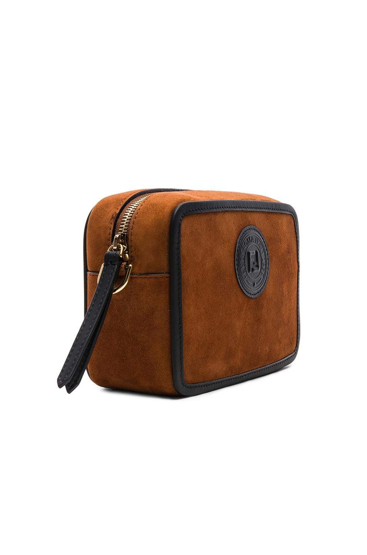 Image 4 of Fendi Mini Suede Logo Emblem Camera Case in Brown & Black