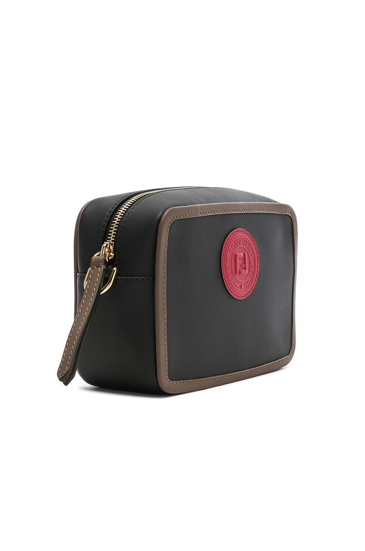 Image 4 of Fendi Mini Logo Emblem Camera Case in Black, Brown & Strawberry