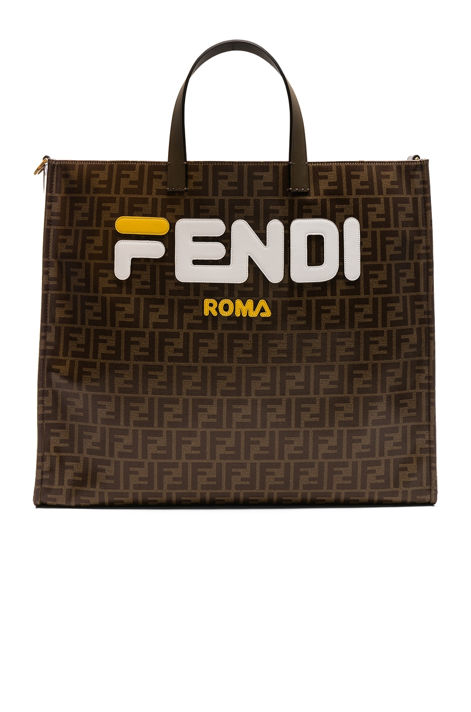 Image 1 of Fendi Fendi Mania Large Logo Tote in Brown & White