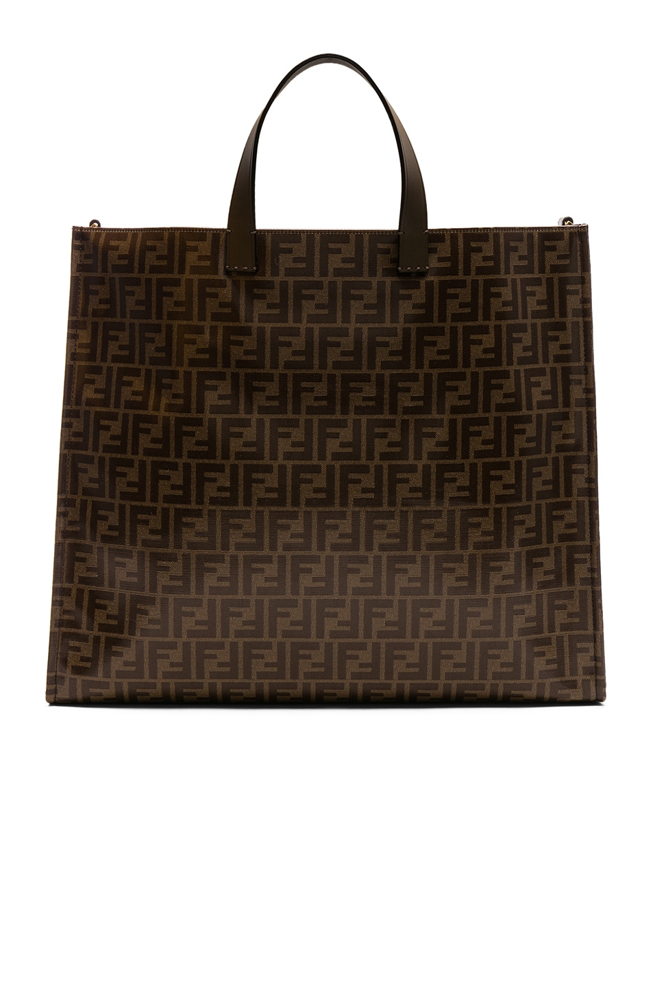 Image 3 of Fendi Fendi Mania Large Logo Tote in Brown & White