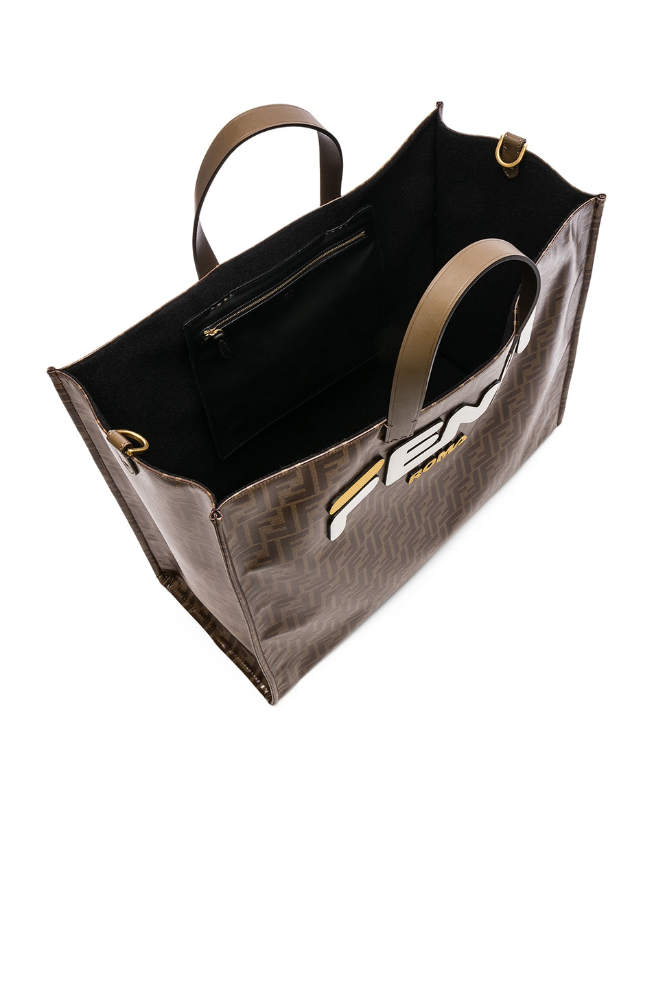Image 5 of Fendi Fendi Mania Large Logo Tote in Brown & White