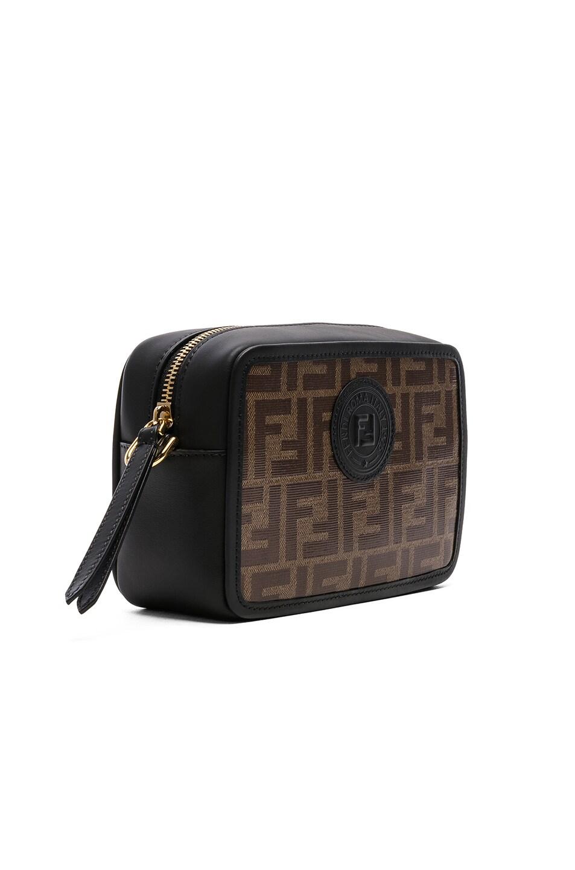 Image 4 of Fendi Mini Logo Print Emblem Camera Case in Brown & Black