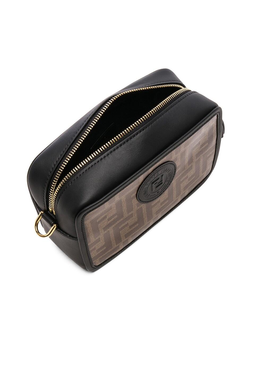 Image 5 of Fendi Mini Logo Print Emblem Camera Case in Brown & Black
