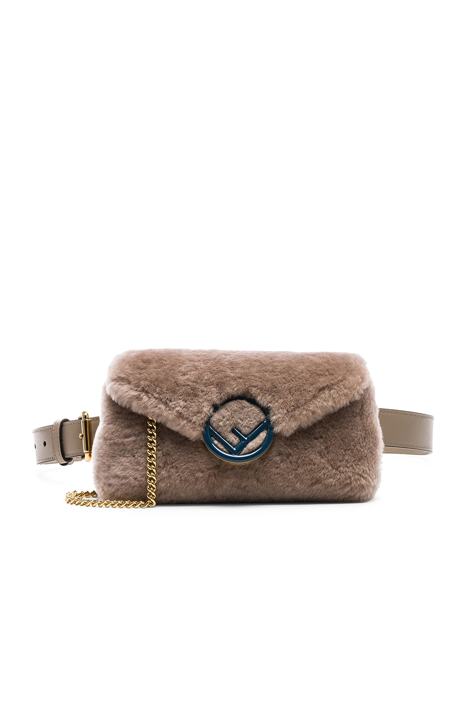 Image 1 of Fendi Shearling Hip Belt in Dove
