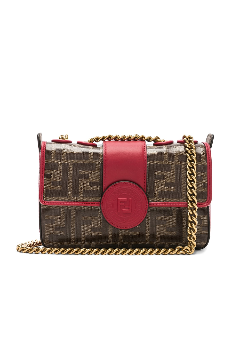 Image 1 of Fendi Mini Logo Print Double F in Brown & Strawberry