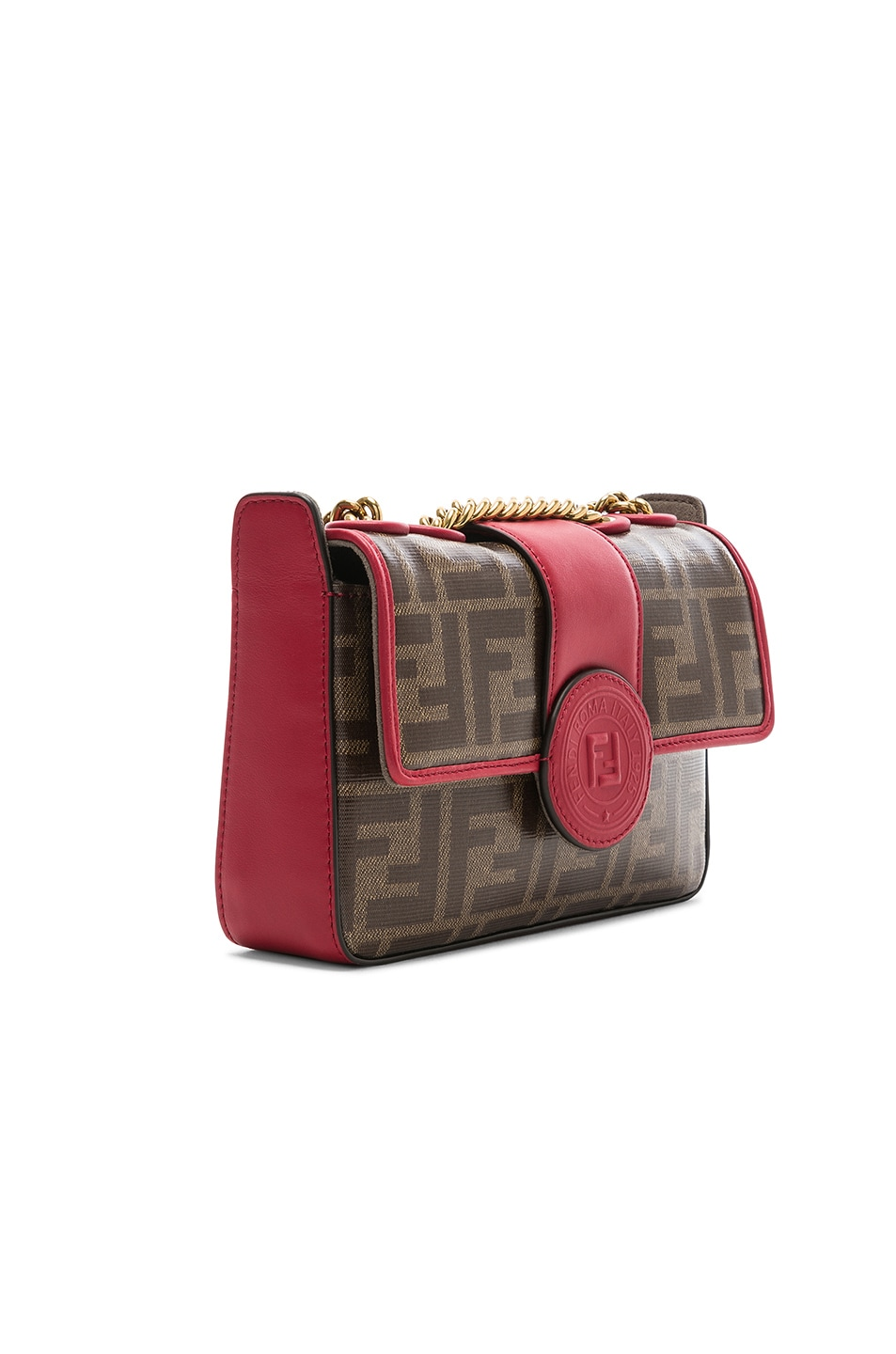 Image 4 of Fendi Mini Logo Print Double F in Brown & Strawberry