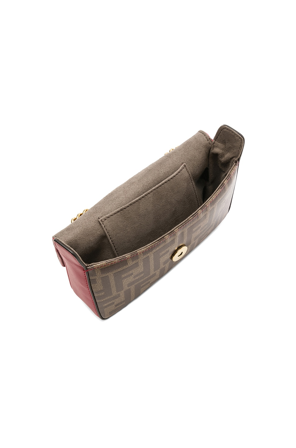 Image 5 of Fendi Mini Logo Print Double F in Brown & Strawberry