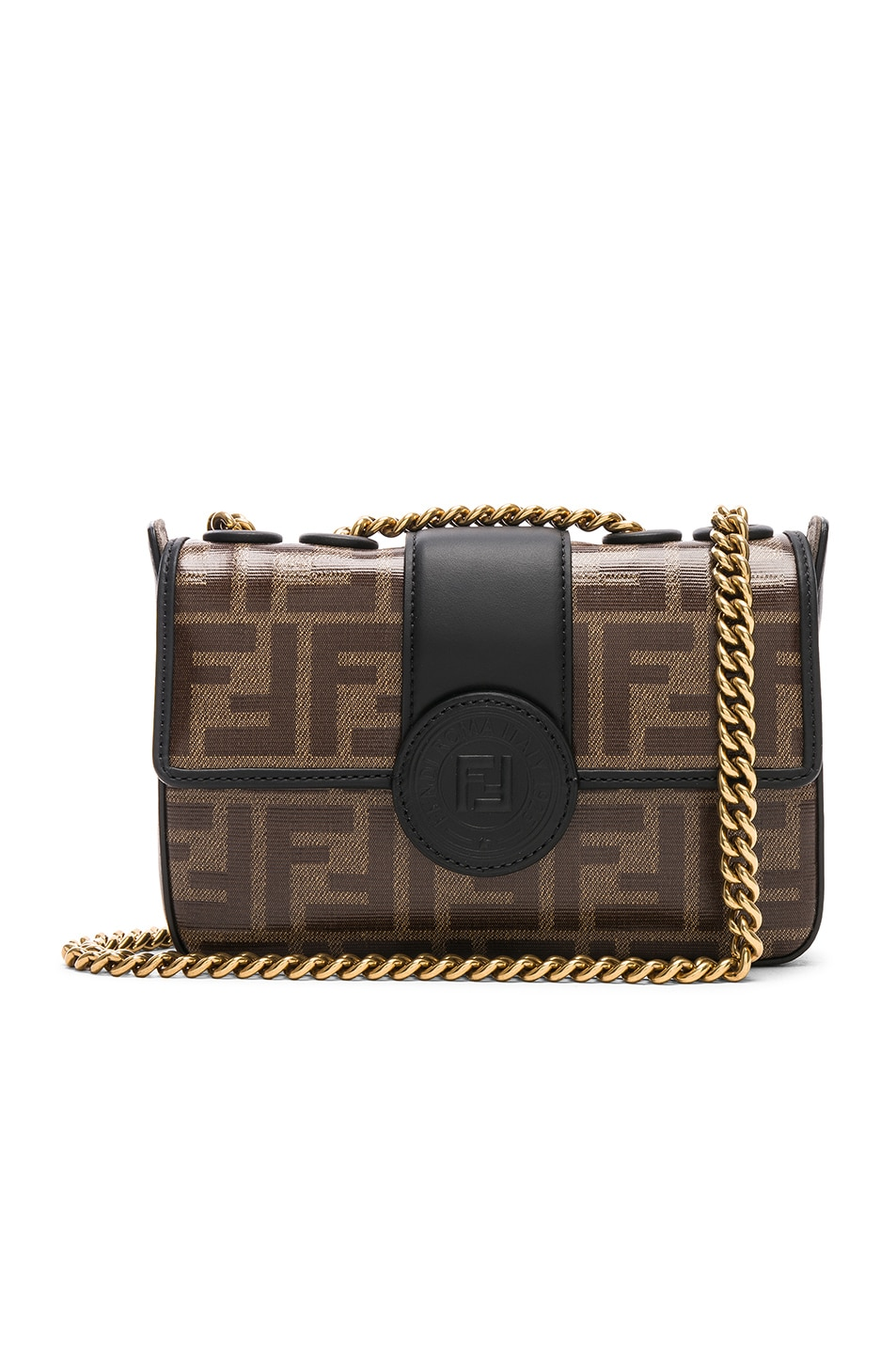 6cee4ab1bf6d Image 1 of Fendi Mini Logo Print Double F in Brown   Black