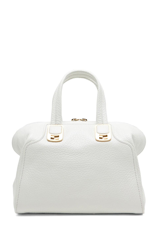 Image 2 of Fendi Medium Satchel Bag in White