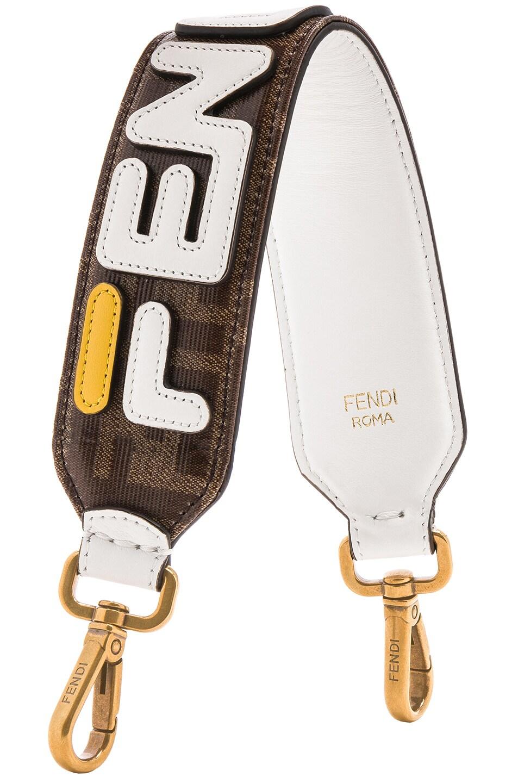 Image 1 of Fendi Fendi Mania Mini Bag Strap in Brown & White