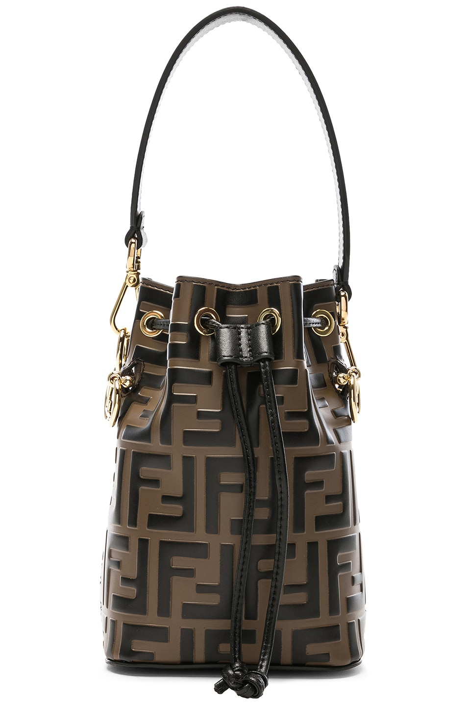 d5f9848e5e48 Image 1 of Fendi Mini Logo Embossed Mon Tresor in Brown   Black