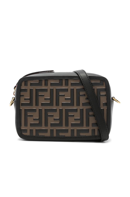 0301170e10d3 Image 1 of Fendi Mini Logo Embossed Camera Case in Black   Brown