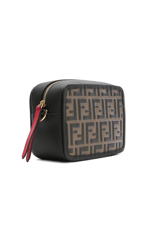 Image 4 of Fendi Mini Logo Embossed Camera Case in Black & Brown