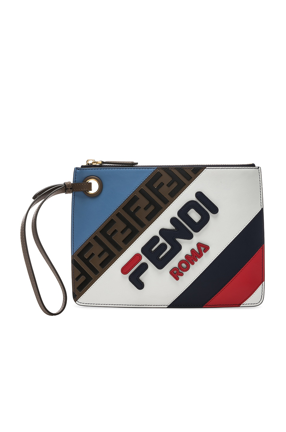 Image 1 of Fendi x FILA Small Logo Pouch in White & Multicolor