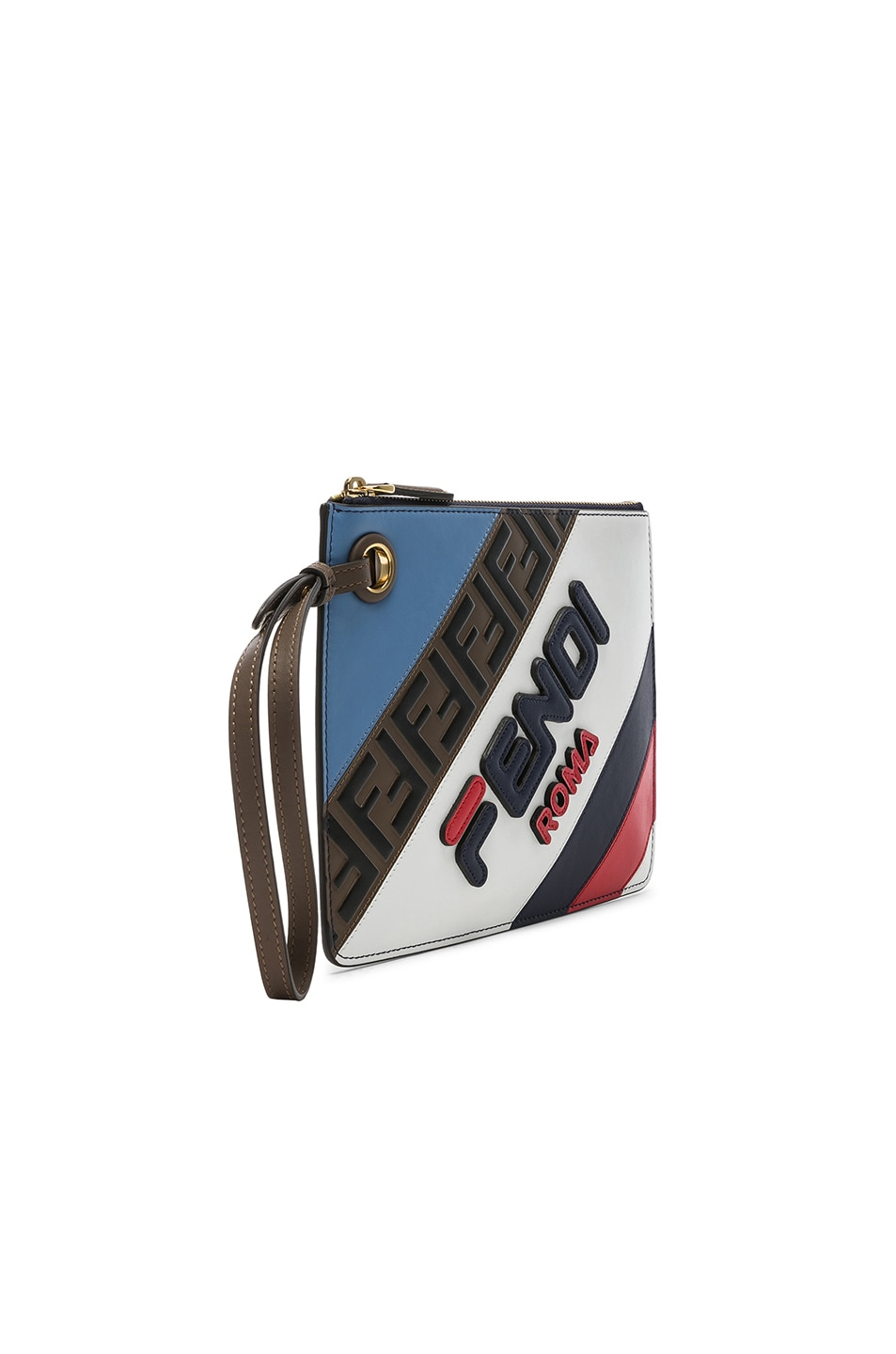 Image 4 of Fendi x FILA Small Logo Pouch in White & Multicolor
