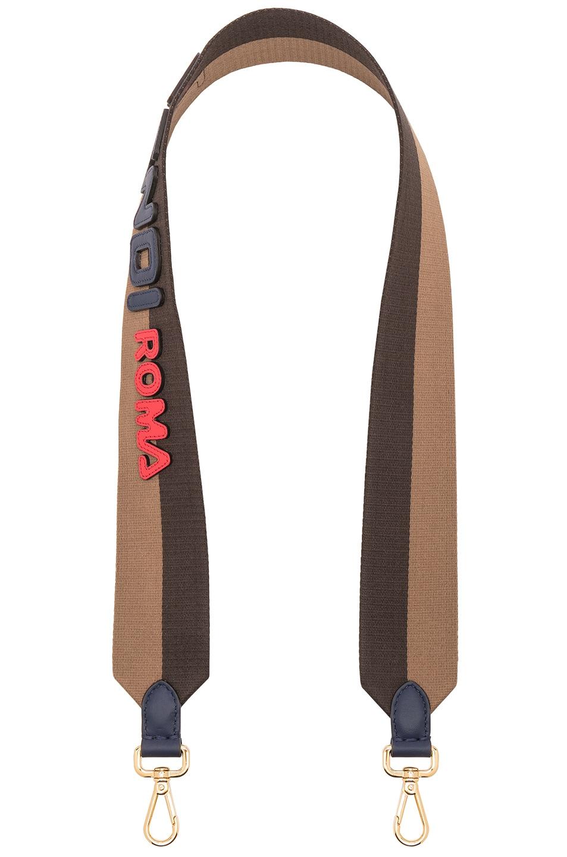 Image 1 of Fendi x FILA Ribbon Logo Bag Strap in Brown & Multicolor