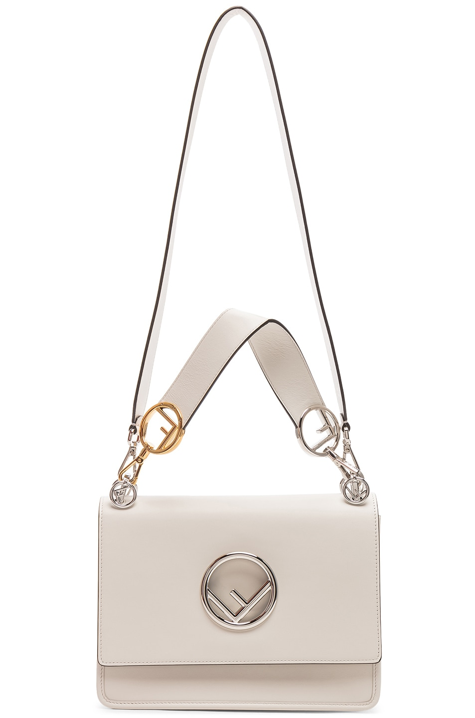 Image 6 of Fendi Logo Flap Bag in Grey