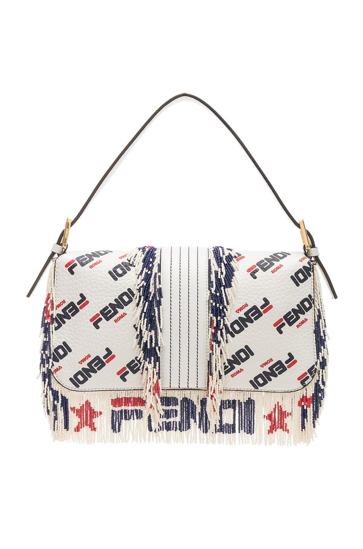 Image 3 of Fendi x FILA Logo Beaded Trim Baguette in White