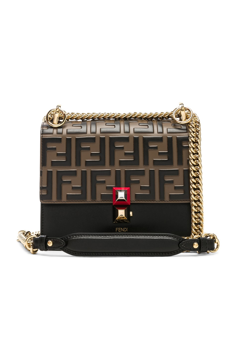 Image 1 of Fendi Small Logo Embossed Kan I in Black & Brown