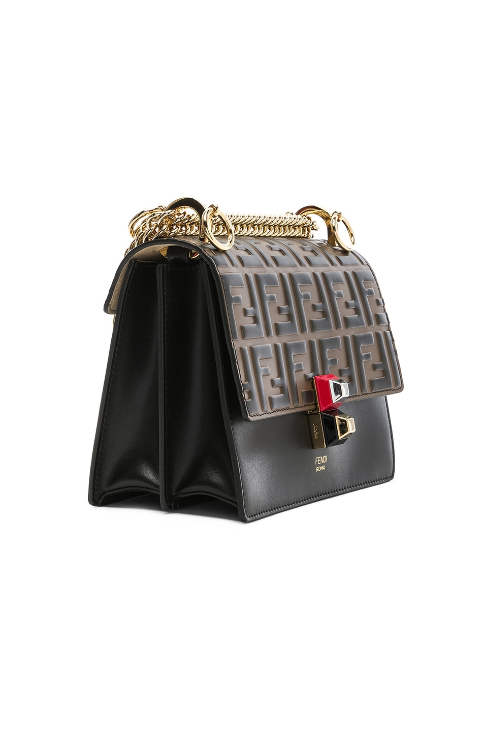 Image 4 of Fendi Small Logo Embossed Kan I in Black & Brown